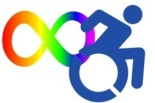 disability alliance and caucus at VT logo - rainbow infinity dragged by stylized action wheelchair user image