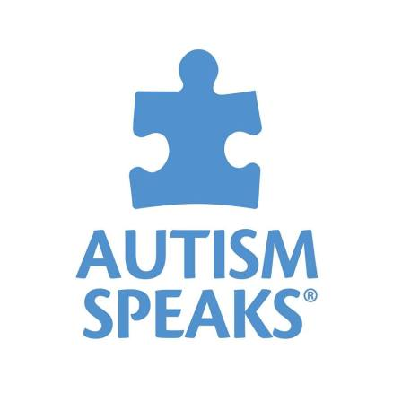 "Logo of Autism Speaks: blue text that says, ""AUTISM SPEAKS"" next to a blue puzzle piece"