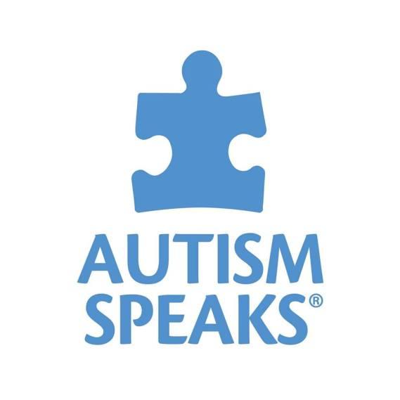 "Logo of Autism Speaks: blue text that says, ""AUTISM SPEAKS"" next to a blue puzzle piece"
