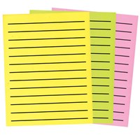 3 sheets brightly colored bold line neon paper of varying colors
