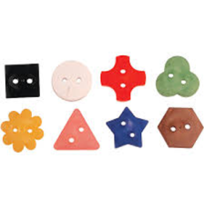 clothing identifiers of varying colors and shapes with holes so they can be applied to clothes hangers