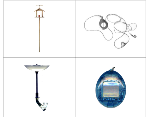 4 Figures, clockwise from top left: A birdhouse on a wooden post, A compass with earbuds attached, a lamp that ends in a snorkle, a Tamagotchi toy without buttons