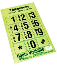 Bright stickers with telephone numbers to be applied to telephone numbers