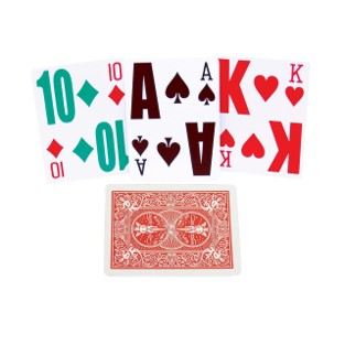 Playing cards with enlarged text and symbols