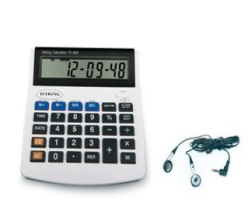 talking 10 digit calculator with a pair of headphones